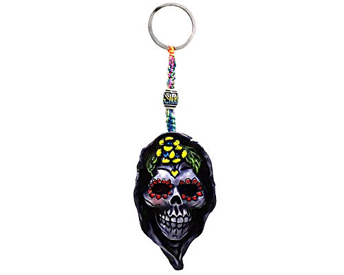 Death Floral Sugar Skull Handpainted Figurine Dangle Handmade Keychain Multicolored Braided Macramé Bead Silver Keyring Hanging Ornament Charm Car Bag Accessory