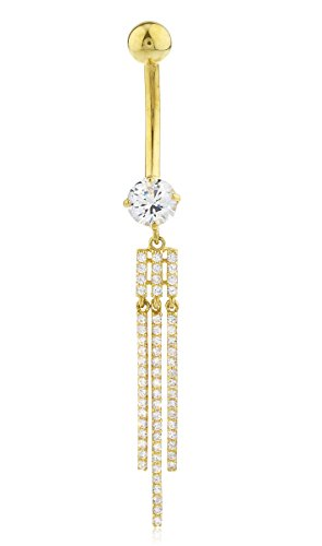 JOTW 10k Yellow Gold Belly Button Ring Cz Stone & Dangling Bars (GO-1481)