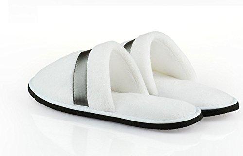 EQLEF® Ein Paar Weiße Hochwertige Verdickung Anti-Rutsch-Hotel Gästezimmer Nicht-Einweg Korallen Samt Hausschuhen