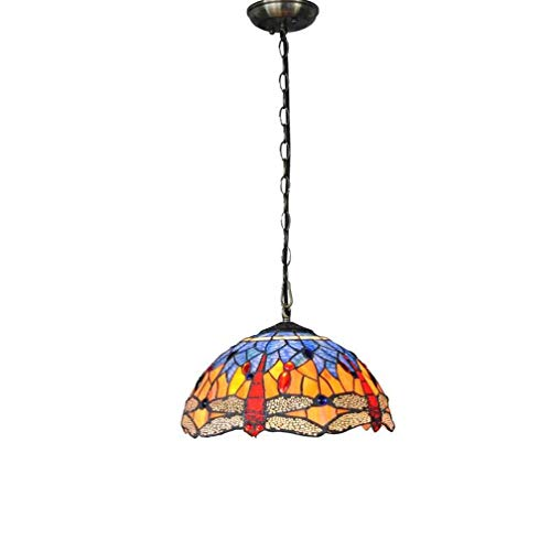 (Tiffany Style Pendant Lighting Dragonfly, 12 Inch Stained Glass Shade with Metal Chain Chassis Hanging Lamp for Restaurant Bar Decoration Ceiling)