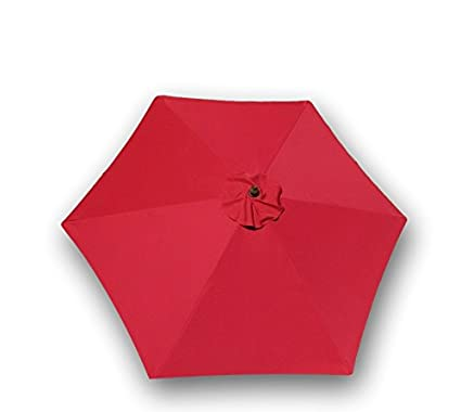 9ft umbrella replacement canopy 6 ribs in red canopy only - Patio Umbrella Replacement Canopy