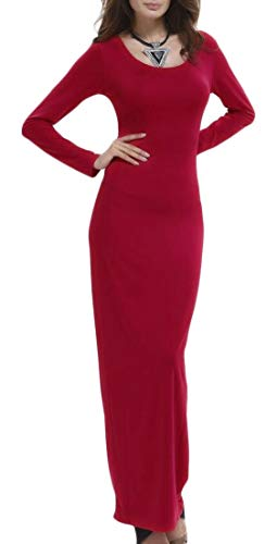 Dresses Stretchy Women ainr Bodycon Maxi Sexy Solid Neck Red Scoop Long Sleeve 6wBxqwvA