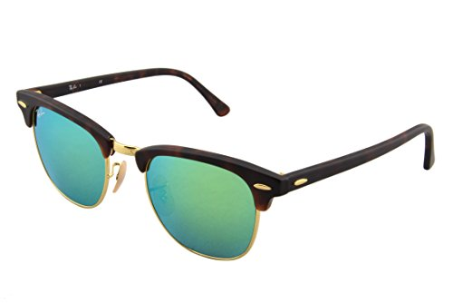 Ray-Ban CLUBMASTER - SAND HAVANA/GOLD Frame GREY MIRROR GREEN Lenses 49mm - Ray 49 Size Ban Clubmaster