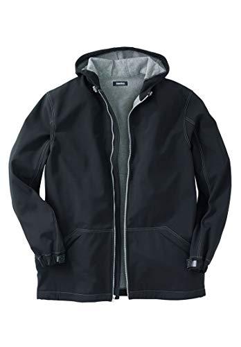 - KingSize Men's Big & Tall Fleece-Lined Rain Coat, Black Big-2Xl