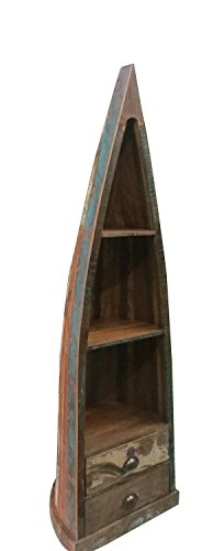 NACH IT-0076 Nautical Rustic Boat Book Shelf with Recycled Wood and Distressed Boat Paint Finish