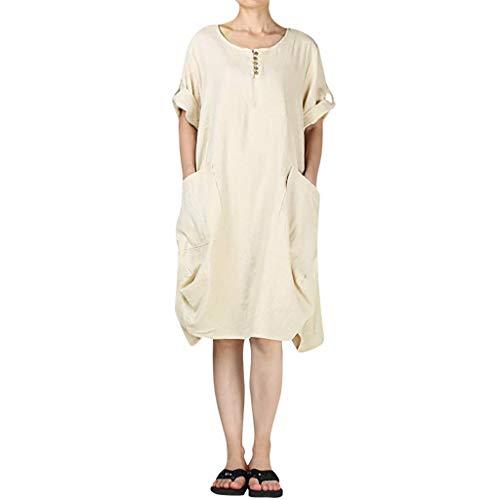 TOPUNDER Linen Dresses Women's Cotton Summer Roll-up Sleeve Baggy Sundress with Pockets Khaki