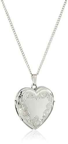 - Sterling Silver Engraved Four-Picture Heart Locket Necklace, 20
