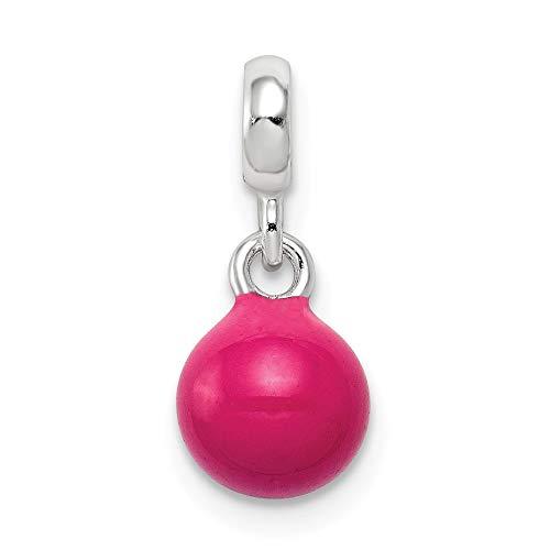 925 Sterling Silver Hot Pink Enamel Bead Bracelet Bead Charm Enhancers