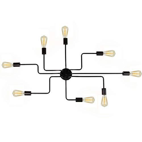 Black Ceiling Lamp Metal Steel Art Dining Room Flush Mount Ceiling Light, 8 Lights E26 Base Sputnik Chandelier Lighting Industrial Vintage Kitchen Light Fixtures