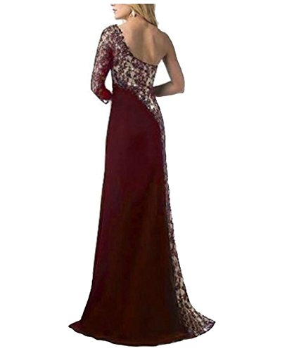 Womens Nightclub Red Stitching Wine Sequins Collision Color Dress Shoulder Jaycargogo Split Hgq1wS6