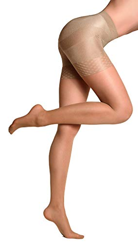 (Sheer Opaque Shaping Pantyhose Slimming Lifting Shaper Nylon Tights Push Up Effect (L, Visone - 40 Den))