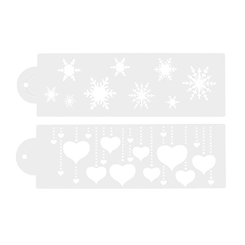 COSMOS 2 Pcs Different Pattern Cake Side Stencils , 4inch Width ( Heart Pattern and Snowflake )