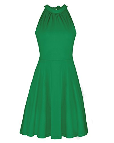 OUGES Women's Stand Collar Off Shoulder Sleeveless Cotton Casual Dress(Green,L)