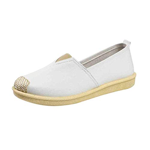 WEUIE Women Vintage Slip-On Loafers Moccasins Walking Driving Flat Shoes Unisex Casual Breathable Sneakers
