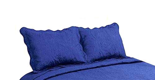 ALL FOR YOU 2-Piece Embroidered Pillow Shams-King Size (King, Navy)