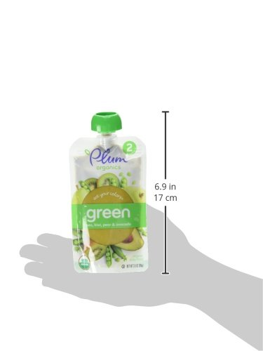 Plum Organics Stage 2 Eat Your Colors Green - Pea, Kiwi, Pear & Avocado, 3.5 Ounce (Pack of 6)