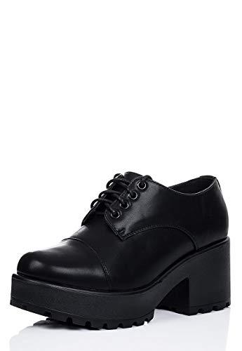 Spylovebuy Block Heel Lace Up Platform Ankle Boots Black Synthetic Leather