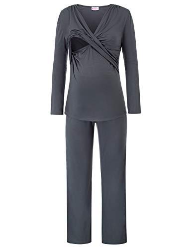 (Women Nursing Pajama Set Cotton Hospital PJS Set Maternity Breastfeeding Sleepwear XL Dark Gray)