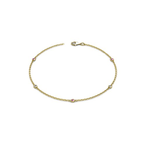 Petite Pink Sapphire and Diamond (SI2-I1, G-H) 5 Station Bracelet 0.15 cttw in 14K Yellow Gold