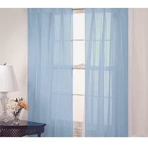 Amazon.com: 2 Piece Solid Light Blue Sheer Curtains Fully ...