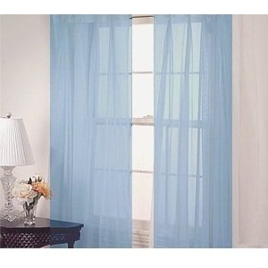 2 piece solid light blue sheer curtains fully. Black Bedroom Furniture Sets. Home Design Ideas