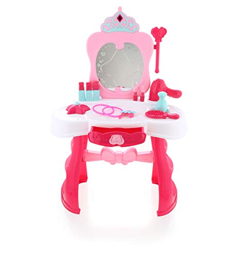 Mozzly Pink Princess Vanity Table with Light & Sound, 17 Inch Mirror Makeup Cosmetics Dressing Accessories Pretend Play Props Role-Play Fashion Makeover Play Set Glam Up Themed Girls Toys & Games