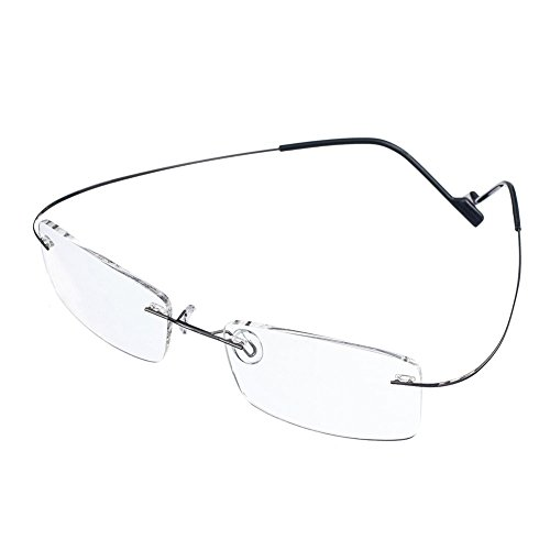 - Rongchy Super Light 100% Titanium Working Reading Glasses +1.50 Men Women Fashion Rimless Reading Eyeglasses 23 Strengths Available in Grey Color with Eyewear Case