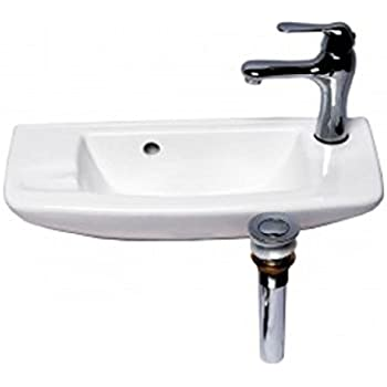 Wall Mount Sink With Faucet And Drain White Bathroom Overflow Stopper Self Draining Soap Dish 8 25 High X 20 Wide X 9 Projection