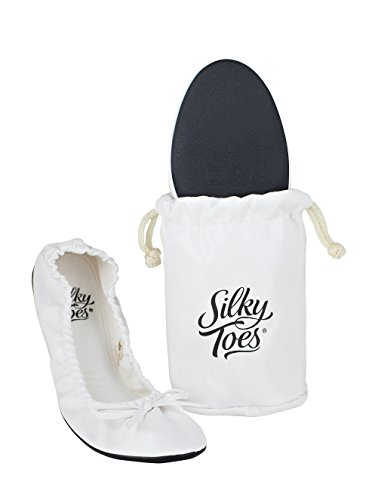 (Silky Toes Foldable Travel Portable Flat Comfort Shoes with Pouch (Large (8/9), White))