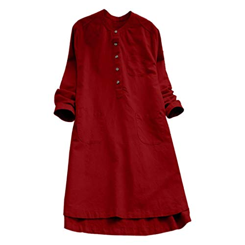 AmyDong Women Button Dress Long Sleeve Plus Size Tops Blouse Mini Shirt Dress (XL,Red) ()