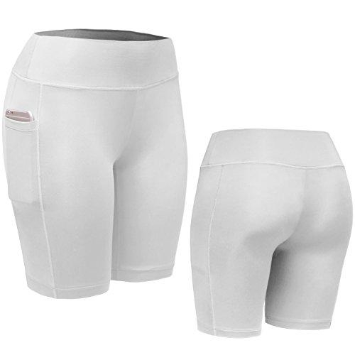 Neleus - Pantalón corto deportivo - para mujer 9005# 3 Pack: White,Black,Grey