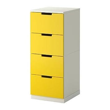 Ikea Nordli Kommode Mit 4 Schubladen Gelb Weiss 40x97 Cm
