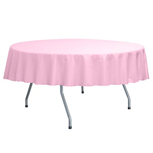 (Ultimate Textile Poly-Cotton Twill 60-Inch Round Tablecloth - Fits Tables Smaller Than 60-Inches in Diameter, Light Pink )