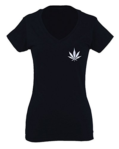 VICES AND VIRTUESS Vintage Weed Leaf Marihuana Mota High Stoned Day Retro COOLFor Women V Neck Fitted T Shirt (Black, - Marihuana Leaf