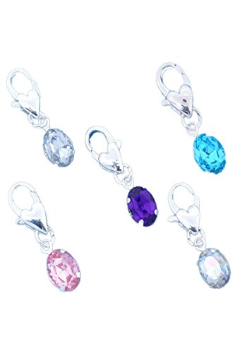 hinestone Clip On Charm Fit Chain Bracelet (Birthstone Dangle)