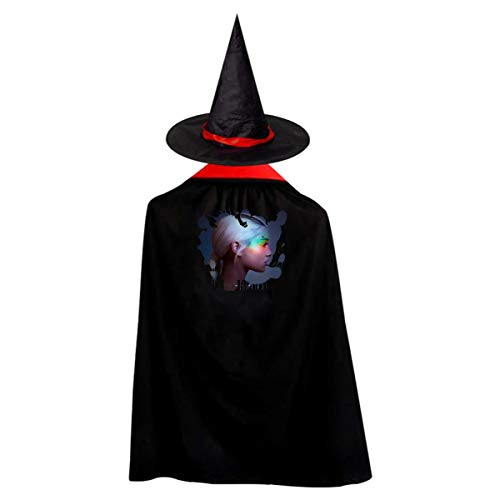 Kids Ariana Grande Adorable Music Band Halloween Wizard Hat And Cape Cloak Red S Gift
