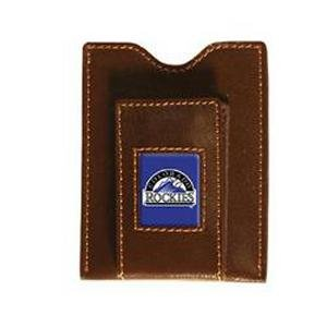 Colorado Rockies Brown Leather Money Clip with Cardholder ()