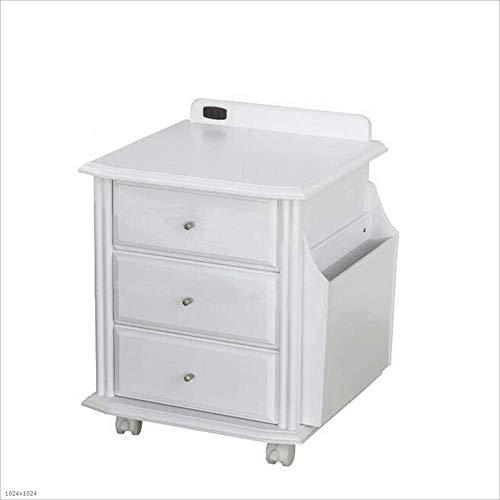 (Bedside Table Solid Wood Nightstand Bedside Cabinet White Universal Wheel Lockers Drawer Storage Cabinet Drawer Locker)