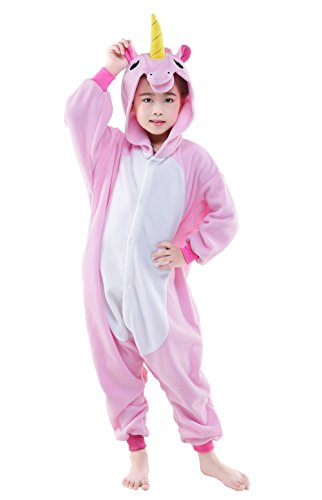 NEWCOSPLAY Animal Cosplay Costume Unisex Kids Unicorn Pajamas ( 125 , pink flying (Unisex Costumes)