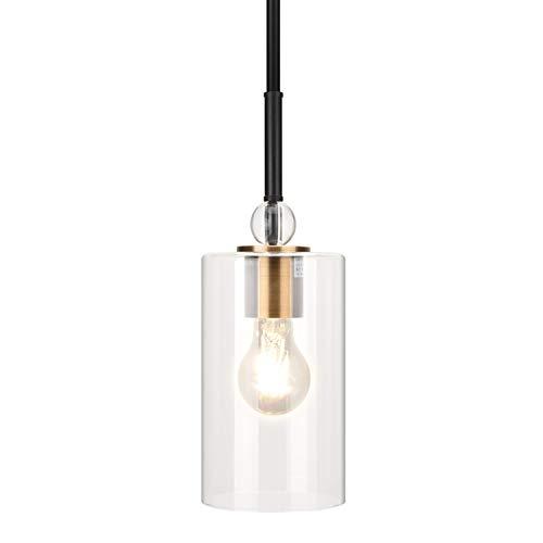 UL Glass Pendant Light with LED Bulb JACKYLED Adjustable Height Antique Brass Hanging Light Fixture Modern Gold Pendant Light for Kitchen Island