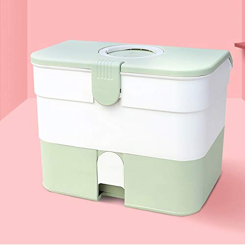 Green MXueei Household First Aid Kit Lockable Medical Cabinet, Plastic Medical Storage Box Organizer for Home, Travel Workplace (color   Green)