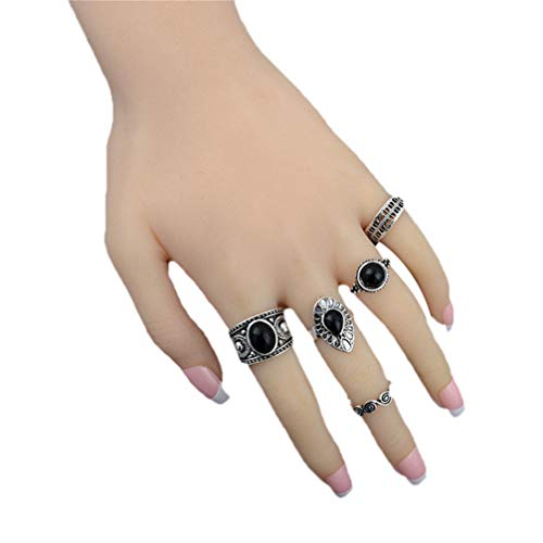 Myhouse Vintage Black Stone Carving Joint Ring Knuckle Rings Set Women Accessories, Ancient Silver Color
