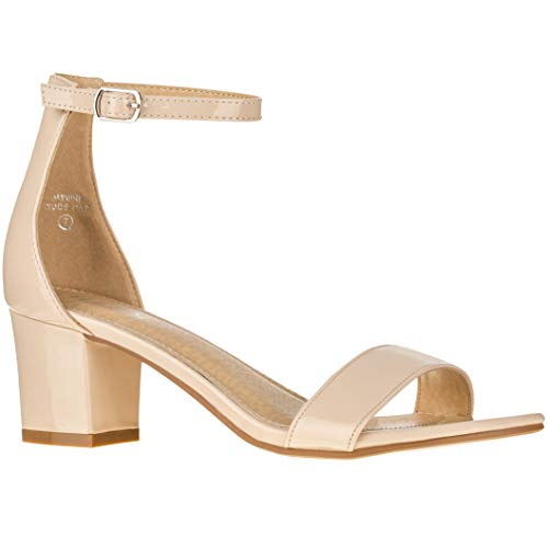 Women's Fashion Ankle Strap Kitten Heel Sandals - Adorable Cute Low Block Heel - Jasmine (8 M US, Nude Patent)