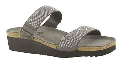 NAOT Footwear Women's Bianca Gray w/Silver Rivets/Metal Lthr Sandal 6 M -
