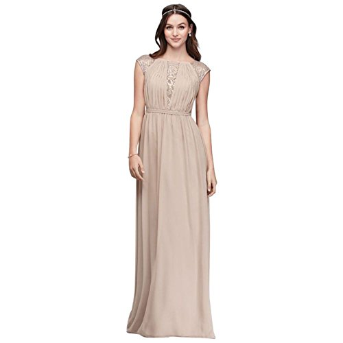 s Metallic Inset Dress Lace Bridesmaid Chiffon Bridal F19578M Style Gold David Metallic 6XwqHda6