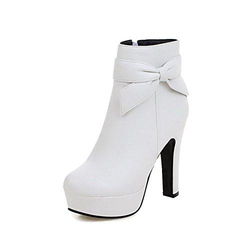 AllhqFashion Damen Reißverschluss PU Leder Hoher Absatz Reißverschluss Rund Zehe Stiefel, Weiß, 38
