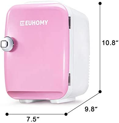 Euhomy Mini refrigerator for bed room, 4 L / 6 cans Portable refrigerator & Electric Cooler and Warmer, Car refrigerator with AC/DC, Small refrigerator for room, administrative center, dorm. Mini refrigerator for skincare and cosmetics.(Pink)