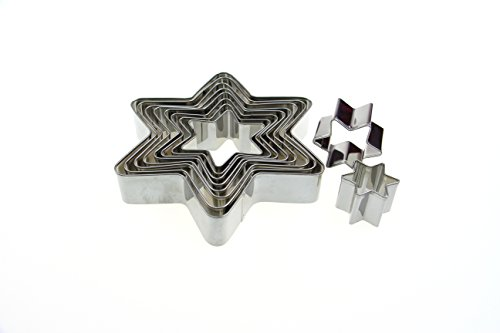 ShengHai Star Cookie Cutter Set, 10-Piece Stainless Steel Six Point Stars Cutters ()