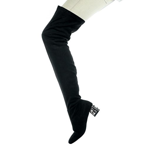 Angkorly - Zapatillas de Moda Botas Altas botas altas flexible mujer joyas Talón Tacón ancho alto 4.5 CM Negro