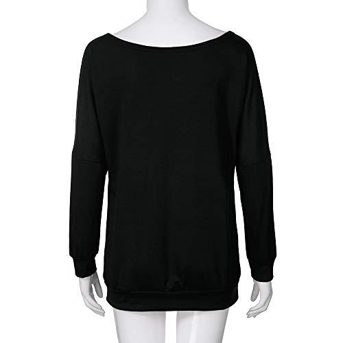 Shirt Slash Longue Dnud paule Top Dcontract Imprim Manche D Hauts Femme Cou SANFASHION x8Xtw